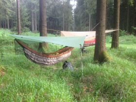 Zwei Hängematten im Wald